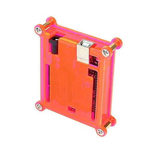 SainSmart UNO R3 ATmega328P Development Board + USB Cable + Fluorescent Red Acrylic Transparent Hard Case Enclosure, Compatible With Arduino -