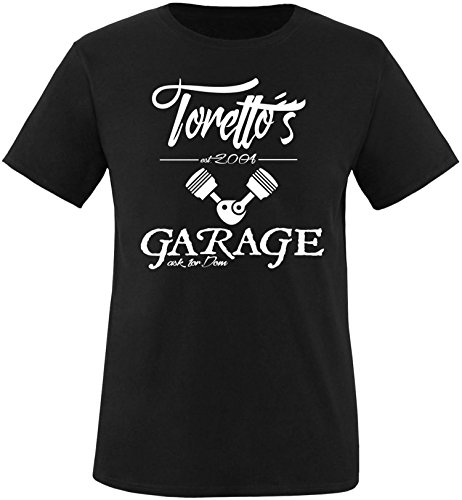 EZYshirt® Toretto´s Garage Herren Rundhals T-Shirt Schwarz/Weiss