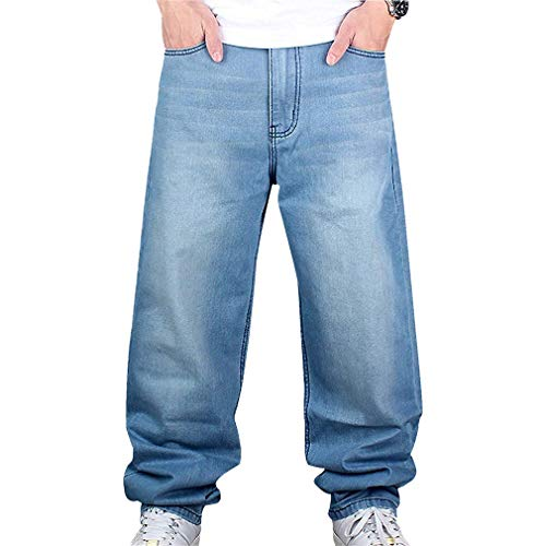 Männer Vintage Hip Hop Baggy Jeans Denim Street Dance Rochenhosen Straight Loose Fit Teenager Jungen Hellblau 34 -