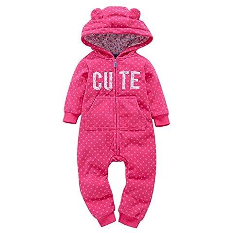 VENMO Cartoon Animals Ear Design Cute Baby Girls Romper Zip Hooded Jumpsuit Playsuit Long Sleeve Thick Winter Infant Onesie Layette Pajamas For 6-24Months (18M,