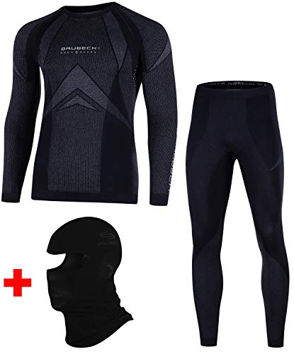 BRUBECK Dry Set Funktionsunterwäsche + Sturmhaube   Ski   Motorrad   Snowboard   Radsport   Damen   Herren   Unisex   LS10180 + LE10160 + KM00010, Größen:M
