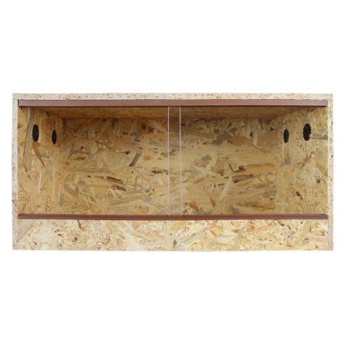 Terrarium: Holzterrarium für Reptilien 60x30x30cm, OSB Terrarium mit Seitenbelüftung, leichte Montage