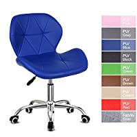 Outwin Desk Chair Swivel Office Chair Blue PU Leather Padded Computer Chair with Castor Wheels and Adjustable Height