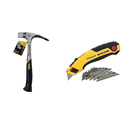 Stanley FatMax Antivibe Latthammer (600 g Kopfgewicht, 340 mm Länge, ergonomischer DynaGrip-Griff, vibrationsgedämpft) 1-51-937 & Messer Fatmax (mit 5 Carbide Klingen,) 1 Stück, 7-10-778