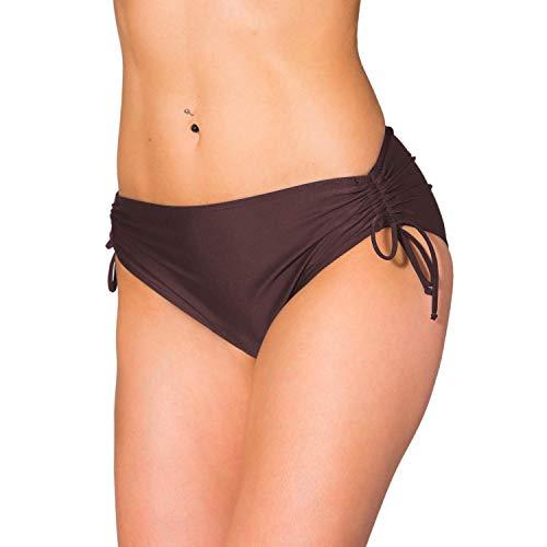 Aquarti Damen Bikinihose mit Raffung und Schnüren, Farbe: Braun, Größe: 40