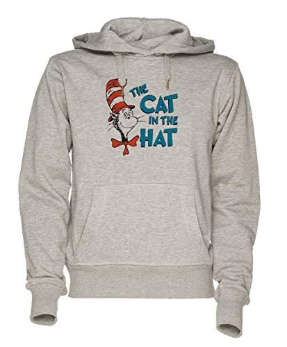 The Cat In The Hat Unisex Grau Sweatshirt Kapuzenpullover Herren Damen Größe XL | Unisex Sweatshirt Hoodie for Men and Women Size XL ()