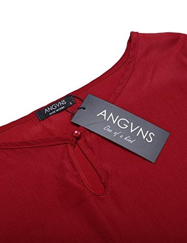 ANGVNS Damen Chiffon-Bluse 3/4 Ärmel Casual Rundhals Shirt mit Glockenärmeln Rot
