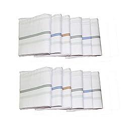 ayushicreationa men's 100% gente cotton handkerchief-pack of 12