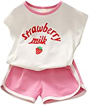 Zrom 1-6 Years Toddler Kids Baby Girls Letter T shirt Strawberry Shorts Outfits Tracksuit Set