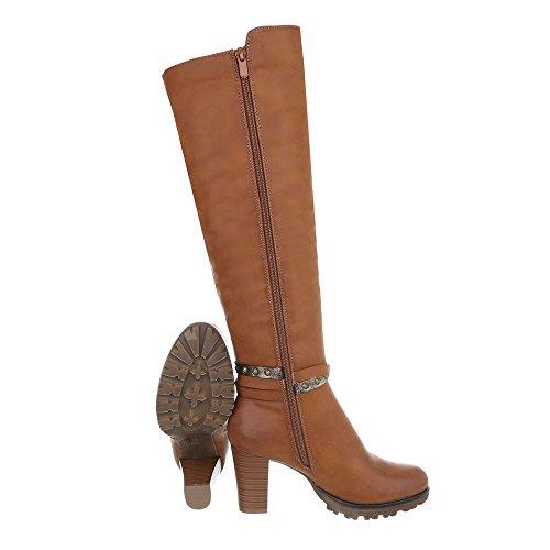 Klassische Stiefel Damenschuhe Klassische Stiefel Pump High Heels Reißverschluss Ital-Design Stiefel Camel