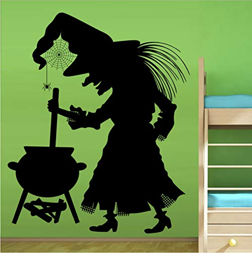 Kessel Spinne Hexe Wandaufkleber Für Kinderzimmer Vinyl Abnehmbare Kunst Wandtattoo Halloween Dekoration Zubehör 59x65 cm (Gute Halloween Ideen Charakter)