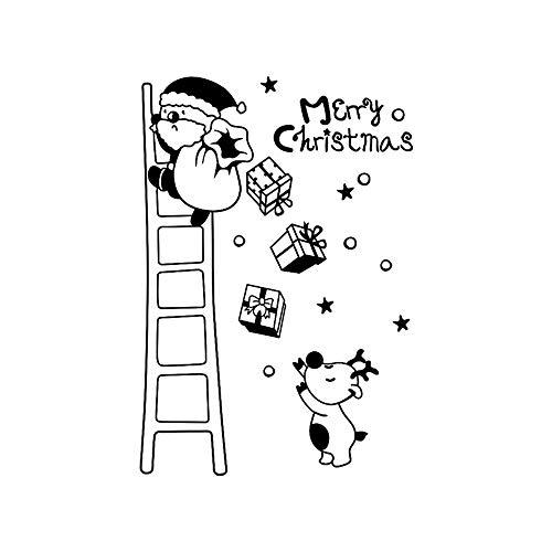 Yallylunn Wall Window Stickers Santa Claus Christmas Xmas Vinyl Art Decoration Decals Kreativen Wasserfest Ziegelstein Wandtattoo Sicherheit Und Umweltschutz 60X90Cm