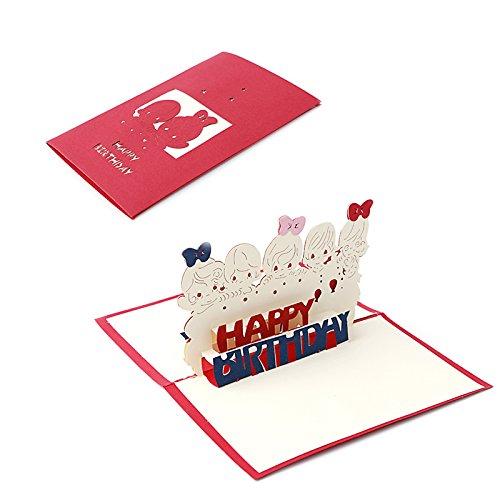 kofun-Grußkarte mit Umschlag, Kinder 3D Pop up Grußkarte Weihnachten Geburtstag NEU Jahr Einladung Paper Cut Postkarte Valentines Party Geschenk Pink (Baby-segen-einladungen)