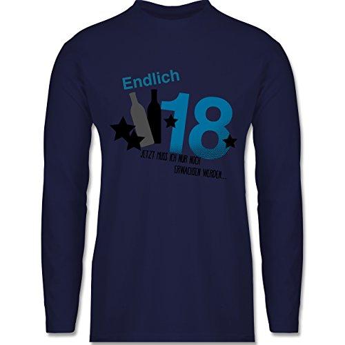 Geburtstag - Endlich 18_Blau - Longsleeve / langärmeliges T-Shirt für Herren Navy Blau