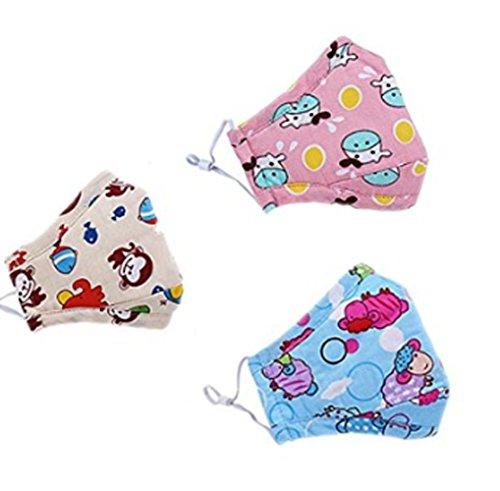3*Masques Automne Hiver en Coton&Charbon Actif PM2.5 Masque Bouche Visage Motif Cartoon Super Chaud Respirant Anti-poussière Anti-haze Anti-Bactérienne pour Enfants Filles Garçons