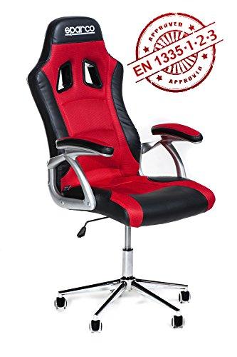 poltrona-ufficio-racing-sparco-trophy-ergonomica-rossa-e-nera-conforme-en1335