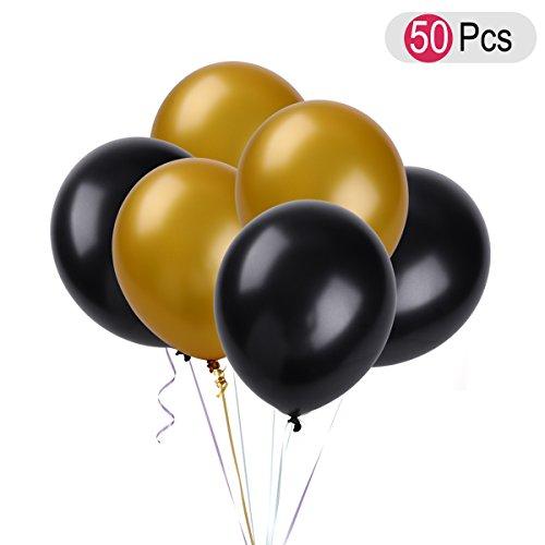 NUOLUX Runde Latex Ballons für Geburtstag Hochzeit Dekoration 50 Stück (golden und schwarz)