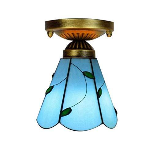Tiffany Deckenleuchte Glasmalerei Dekoration Tiffanylampe Europäisches Minimalismus Stil Deckenlampe 6-Zoll-Tiffany-Stil Wohnzimmer Schlafzimmer Bunt Glas Korridor Lampe E27 Edison Glühbirne, Style-R -