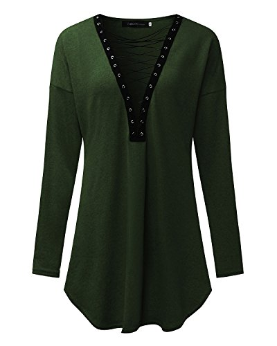 StyleDome Damen Spitzen Lange Ärmel Tiefe V-Ausschnitt Dekolletee Kurzen Hemdkleid Armee-Grün