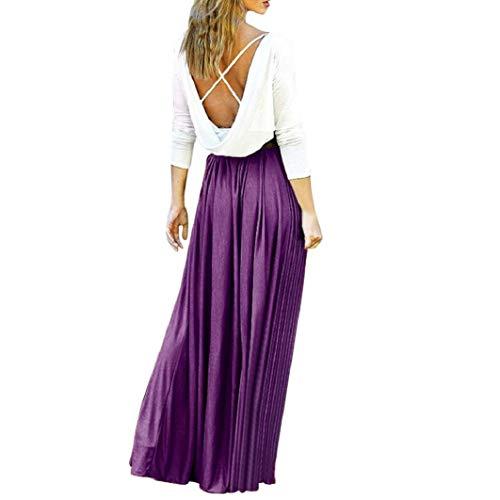 Subfamily Frauen Hohe Taille Elegante Kleider Bodenlanges Kleid rückenfrei Sexy Long Beach Bunten Dress Elegant Kleid Sommer und Herbst ()
