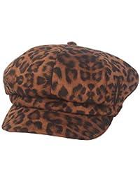 Suvimuga Gorro De Mujer con Visera De Leopardo Boina Octogonal