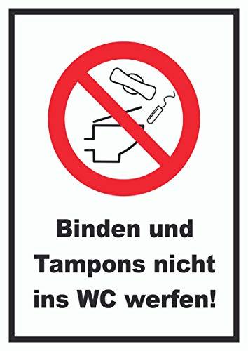 HB-Druck Keine Binden und Tampons in WC werfen Schild A4 Rückseite selbstklebend
