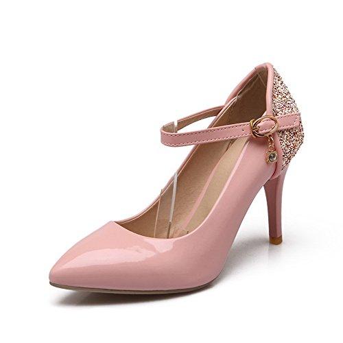 Senhoras Voguezone009 Pu Couro Cor Misturada Fivela Salto Alto Dedo Apontado Bombas Rosa Sapatos