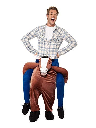 Pferd 2 Kostüm Für - Smiffys Herren Huckepack Pferd Kostüm, Einteiler mit Beinen, One Size, Braun, 24662