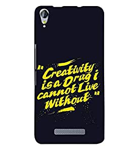 Fiobs painted storke lines yellowe creativity is a drug I cant live without amazing Designer Back Case Cover for Micromax Canvas Juice 3 plus Q394