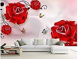 BHXINGMU Benutzerdefinierte Wandbilder Schlafzimmer Sofa Wohnzimmer Tv Hintergrund 3D Rosen Große Kunstwanddekoration 150Cm(H)×200Cm(W)