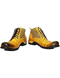 e5cc6617db0592 Modello Buecello - Handgemachtes Italienisch Leder Herren Gelb Stiefel  Stiefeletten - Rindsleder Handgemalte Leder - Schnüren