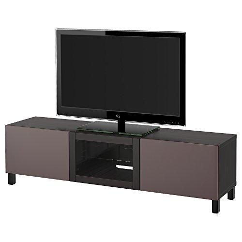 IKEA BESTA - TV-Bank mit Schubladen und Türen schwarzbraun / valviken dunkelbraun Klarglas