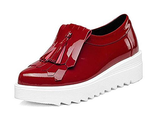 Beauqueen 2017 Fashion PU Upper Elevator Ferse Lace-up-Plattform Round-Toe Casual Work Schuhe EU Größe 34-39 Red