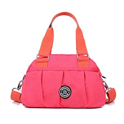 Tiny Chou Wasserabweisende Nylon-Handtasche, pure Farbe, leichte Umhängetasche/Messenger-Tasche rose