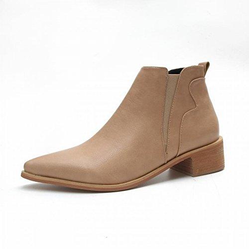 Damen Stiefel Flach mit Martin Stiefel Einzigen Frauenstiefel in Der Röhre Plus Kaschmir Stiefel Allgleiches Schuhe , Ingwer , EUR35
