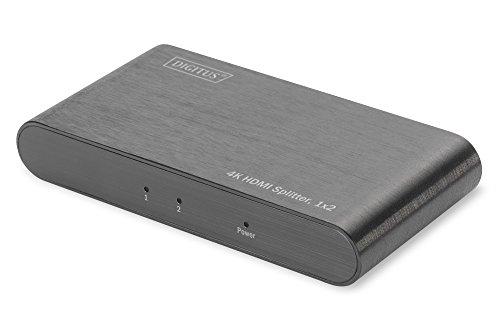 DIGITUS DS-45318 - 2-Port HDMI Splitter, 1x2 - Ultra-HD, 4K, 60Hz - Full 3D,  gebürstetes Aluminium - Schwarz