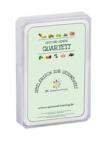 RR's Spielesammlung Spielerisch zur Gesundheit - Obst & Gemüse Quartett Kartenspiel | EIN Lernspiel und Wissensspiel für Kinder Jugendliche Erwachsene | Trumpf Spiel für Schule & Familie (Deutsch) - Familie, Gesundheit, Lebensmittel