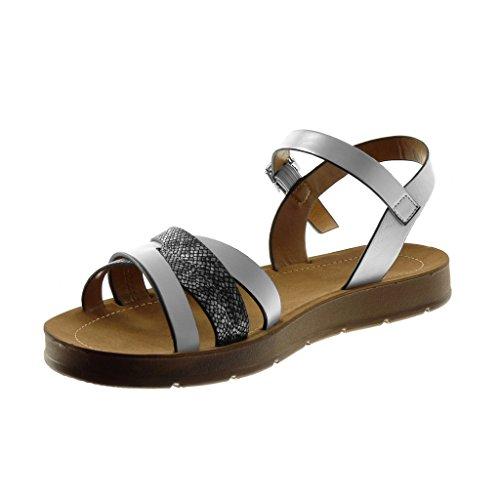 Bianco Cm 2 Di Angkorly Cavigliera Incrociate Cinghie Compensati Tacco Sandalo Scarpa Donna Modo 6AqwC