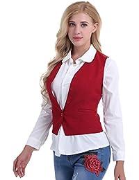 8bd210bbb205ac iEFiEL Damen Anzugweste Ladies Waistcoat Formal Business Weste Taillierte  Weste Basic Schwarz/Rot Größen S