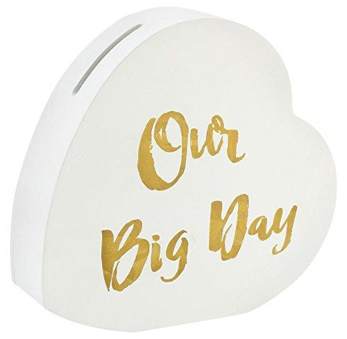 Lesser & Pavey-Hucha con Forma de Nuestro Gran día corazón Caja, Color Blanco