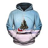 BBestseller Hombre Abrigo 3D Impresión Sweatshirt Hoodie Novedad Bolsillo Grande Navidad Sudadera con Capucha Pullover Jersey Tops