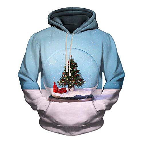 SEWORLD Weihnachten Christmas Herren Männer Herbst Winter Weihnachten Drucken Langarm Mit Kapuze Sweatshirt Top Bluse(Blau,EU-56/CN-5XL)