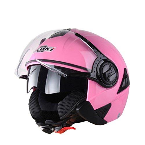 Harleeyr Offenes Gesicht Motorrad Helm Capacete De Moto Vintage Capacete De Motocross Schwarz Casque Helm 622 Pink M