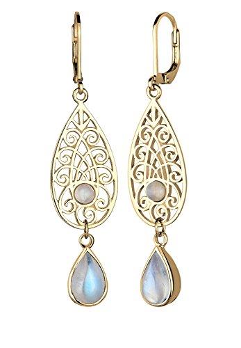 Elli Damen Ohrringe 925 Sterling Silber Vergoldet Mondstein
