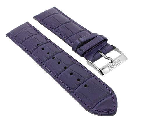 Esprit Ersatzband 22mm | Leder lila mit Krokoprägung passend für Armbanduhr ES103822003