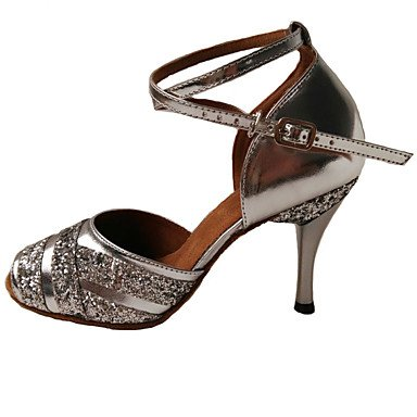 Ruhe @ Damen Sandalen Leder Tanzschuhe Latin/Heels Stiletto Heel Innen Blau/Violett/Silber Violett