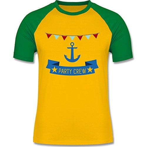 JGA Junggesellenabschied - Party Crew Anker - zweifarbiges Baseballshirt für Männer Gelb/Grün