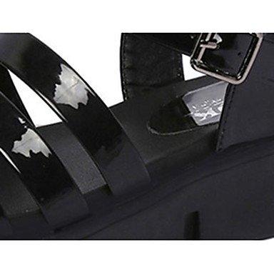 LvYuan Damen-Sandalen-Lässig-PU-Flacher Absatz-Komfort-Schwarz Weiß Armee-Grün Black