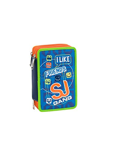 ASTUCCIO scuola SEVEN - SJ BOY - 3 scomparti - pennarelli matite gomma ecc.. Arancione Blue