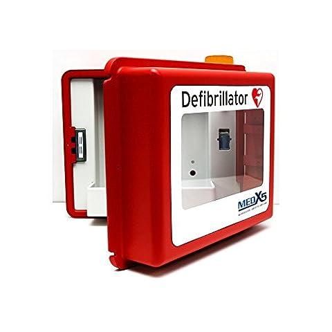 MedX5 Defibrillator Wandkasten für alle AED Herstellermarken, mit akustischen und optischen Alarmen, mit Heizung, beheizt für Außenbereiche, Made in Germany! 5 Jahre Garantie